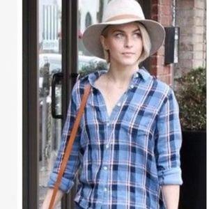Madewell Cozy Shirt, Flannel, Blue Plaid, large